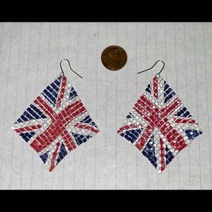 Flexible British flag earrings